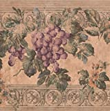 wall borders grapes - Purple Grape Vines on Ancient Wall Vintage Wide Wallpaper Border Retro Design, Roll 15' x 10''