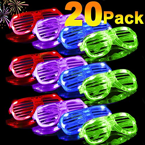 20 Pack Light Up Glasses 2019 Glow in The Dark Party Shades 5 Color Led Party Glasses Shutter Shades for Adults Kids LED Neon Sunglasses Neon Party Supplies Rave Night Games Easter Party Favors
