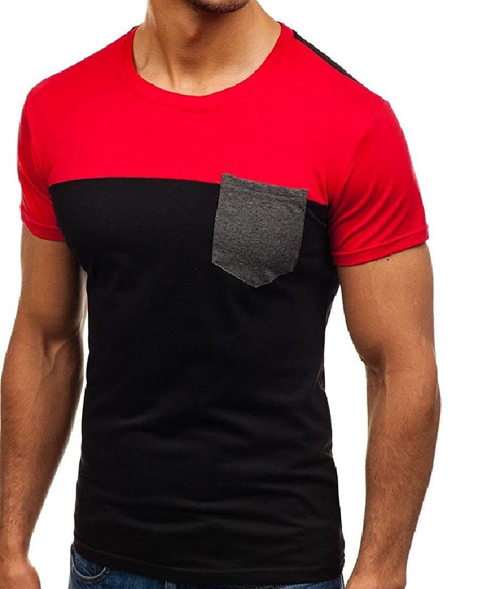 Nicelly Mens Crew Neck Novelty Stitch Short-Sleeve Pocketed Slim Tops Shirt