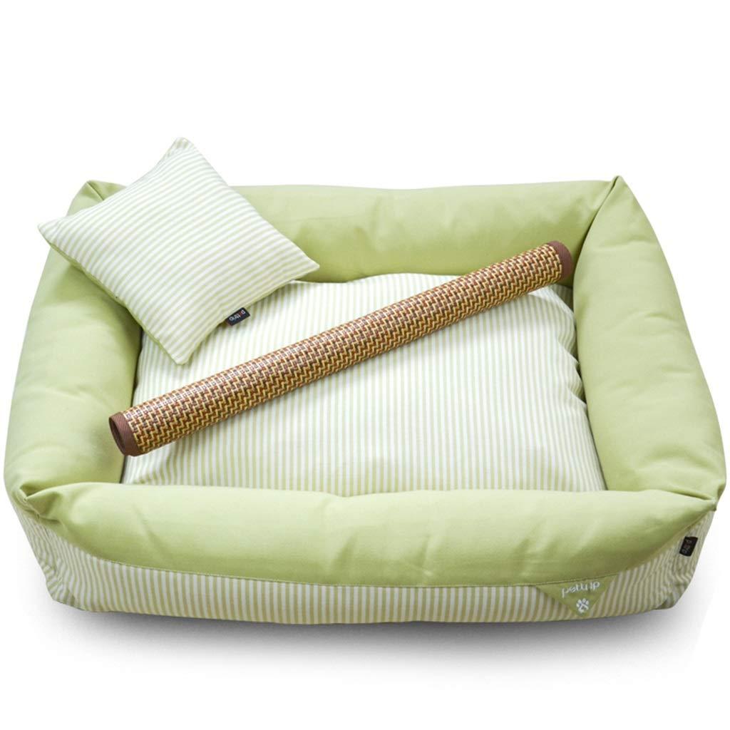 GREEN 85×60×20cm GREEN 85×60×20cm PLDDY pet Bed Pet Mat, Large Dog Kennel Cat House Removable and Washable Pet Nest Wear-Resistant Bite Pet Bed (color   Green, Size   85×60×20cm)