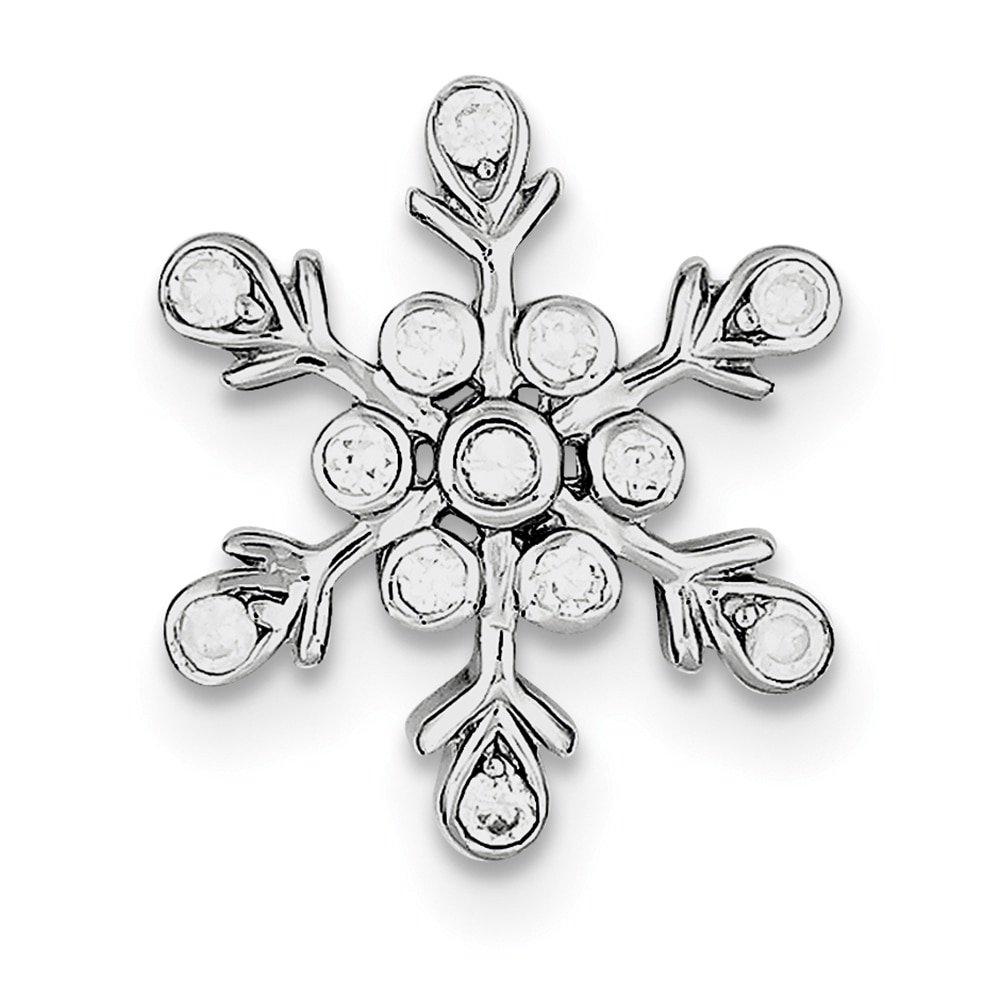 Lex /& Lu Sterling Silver CZ Snowflake Pendant