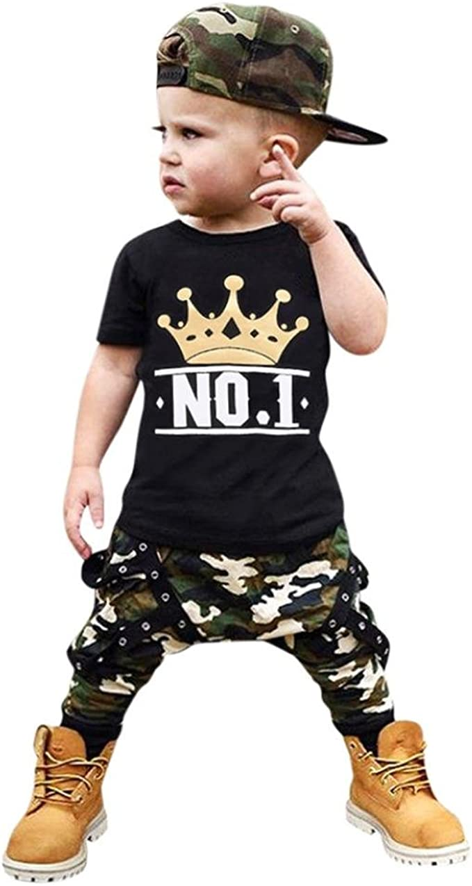 2Pcs Toddler Babys Boys Girls Summer Pajamas T-Shirt Tops Shorts Outfits Set