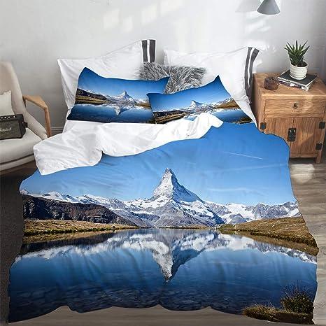 Hypoallergen Maulbeerseide Bettw/äsche YAHAO Seidenbettw/äsche Set 4 Teilig Bettbezug Kissenbezug Ultra Weich Und Glatt,Blue-200 * 230cm