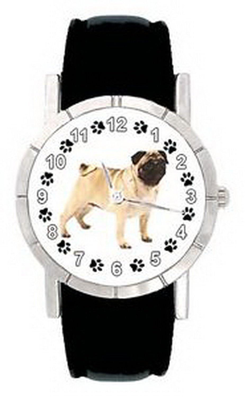 jwl0191パグMops Dog Pawメンズレディース本革クオーツMovement腕時計 B01MSYWE9H