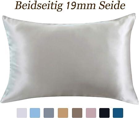 ZIMASILK Taie d'oreiller 100% Soie de mûrier pour Cheveux et Peau, 2 côtés 19 Momme Soie 1 pièce, Soie, Slive Grey, 40 x 60 cm