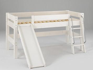 Dolphin Furniture Halbhohes Moby Kinderbett Mit Rutsche Und Leiter Kiefer Massiv FarbtonGelaugt