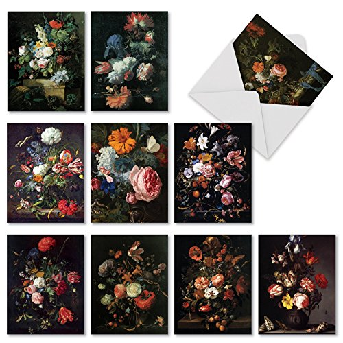 M10020BK Baroque Blooms: 10 Assorted Blank All-Occasion Note Cards Feature Bright and Lush Floral Arrangements,w/White Envelopes.