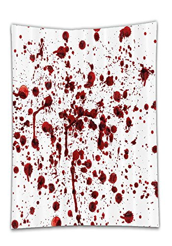 Chaoran Tablecloth Bloody Set by Splashes of Blood Grunge Style Bloodstain Horror Scary Zombie Halloween Themed Print Decor with Hooks Extra Long Red Holiday Home (Halloween Themed Manicure)