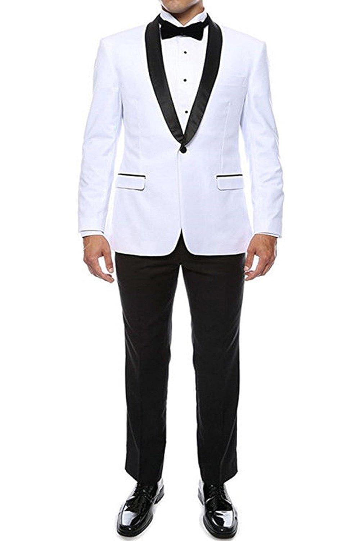 Pretygirl Men's Fashion Modern Fit Two-Pieces Blazer &Black Pants Men Wedding Suits (XXL, White) PGS020White-52S
