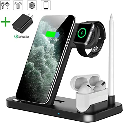 Wireless Charger, QI-EU 4 in 1 Qi-Certified 10W Fast Charging Station Compatible Apple Watch Airpods iPhone 11/11pro/X/XS/XR/Xs Max/8/8 Plus, Wireless ...