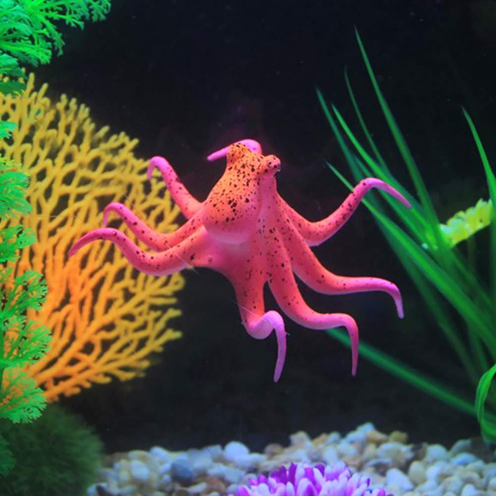 Unicoco Aquarium Artificial Octopus Green Glowing Octopus Decor Luminous Silicone Fish Tank Simulation Octopus
