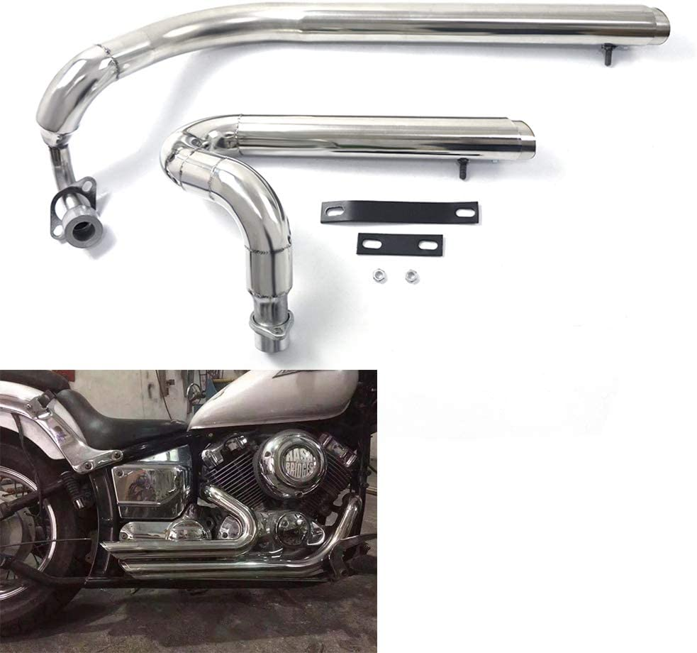 COPART Exhaust Pipe Kit Silencer Mufflers For Yamaha V star 650 XVS650 XVS400 DS650 400 Drag star 400 Drag Star 650