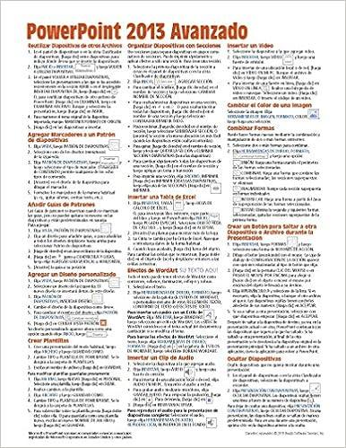 Microsoft PowerPoint 2013 Avanzado Guía de referencia rápida (Hoja de referencia con instrucciones, consejos y accesos directos - Guía plastificada) ...