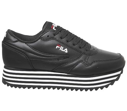 Zapatillas Deportivas para Mujer FILA Orbit Zeppa Stripe WMN en Cuero Negro 1010667-11W: Amazon.es: Zapatos y complementos