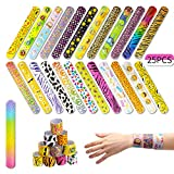 AIEX 25 Pcs Slap Bracelets with Colorful Hearts Face Animal Print Prizes Slap Bands for Boys and Girls Birthday Party Halloween Easter Favors