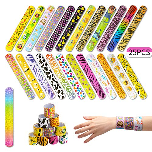 AIEX 25 Pcs Slap Bracelets with Colorful Hearts Face Animal Print Prizes Slap Bands for Boys and Girls Birthday Party Halloween Easter Favors ()