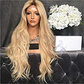Kerrywigs 150 Density Ombre #4T/#613 Malaysian Virgin Hair Full Lace Wigs Baby Hair Glueless Top Grade Wavy Blonde Human…