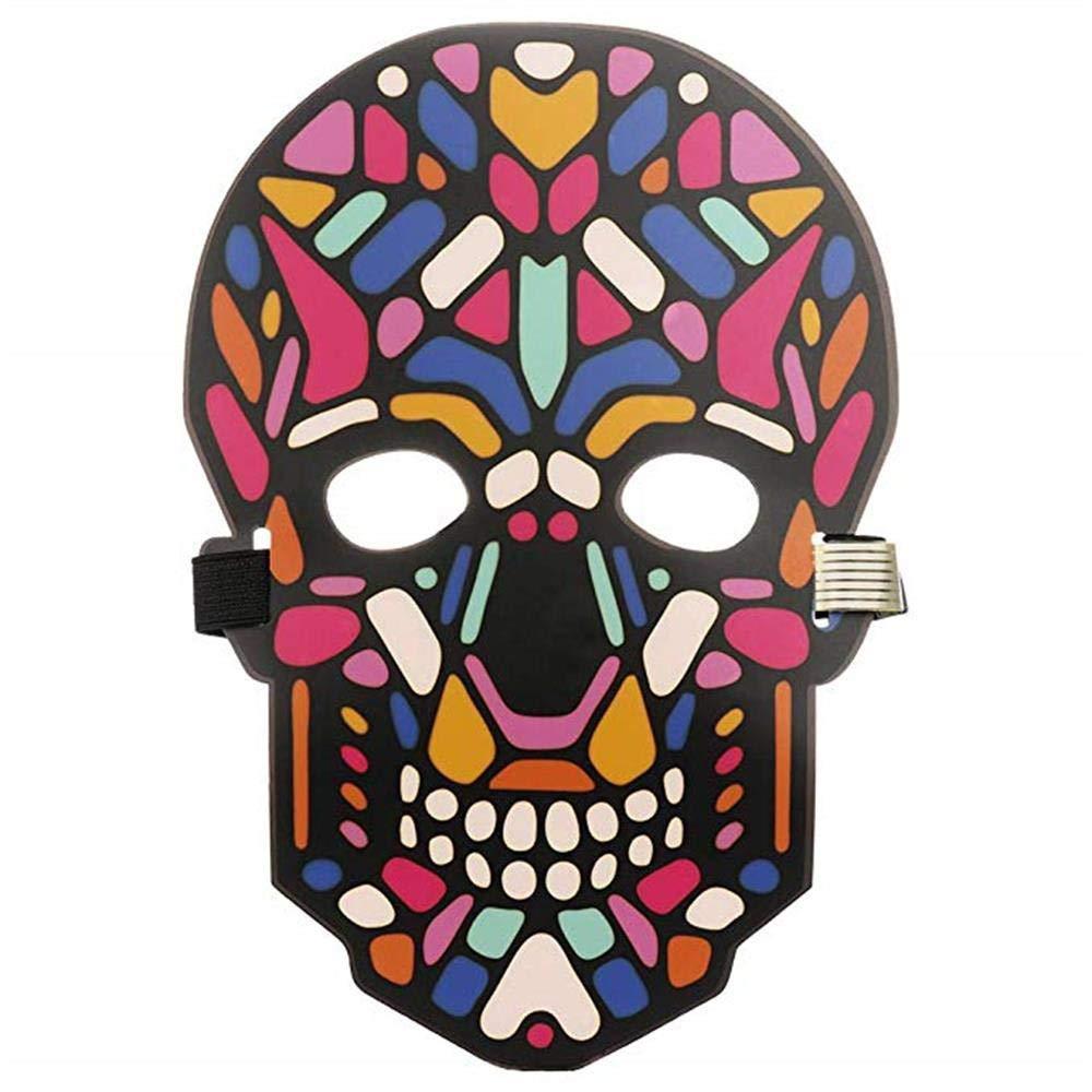 Unpara Halloween LED Mask Party Version Sound Reactive Dance Rave Light Up Adjustable Mask (E)