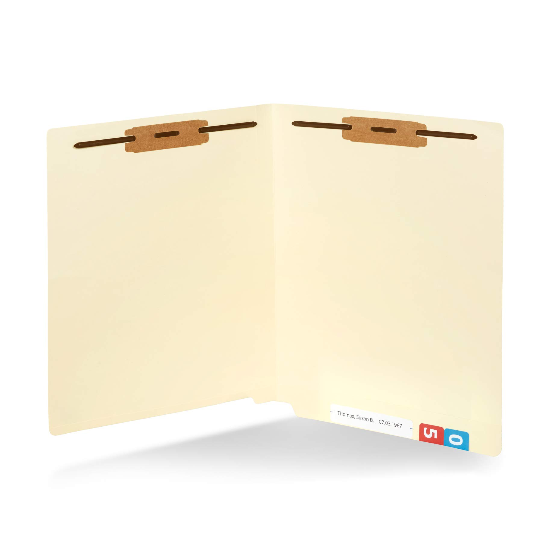 50 End Tab Fastener File Folders- Reinforced Straight Cut tab- Designed to Organize Standard Medical Files and Office documents- Letter Size, Manila, 50 Pack by Blue Summit Supplies