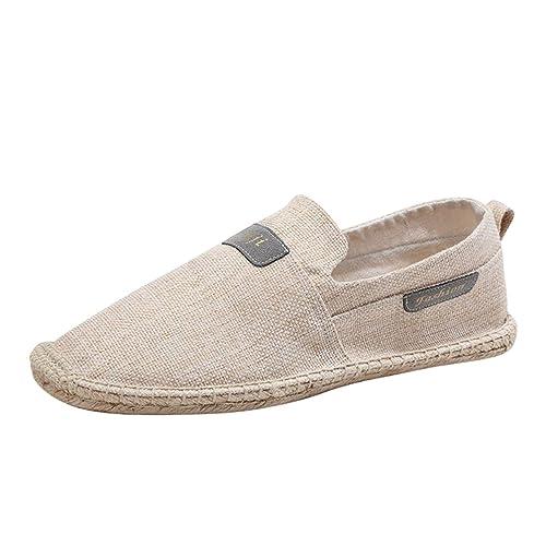 Jitong Unisex Cómodo Mocasines Loafers Talla Grande Slip on Alpargatas Planas Verano Zapatillas Casuales (Beige