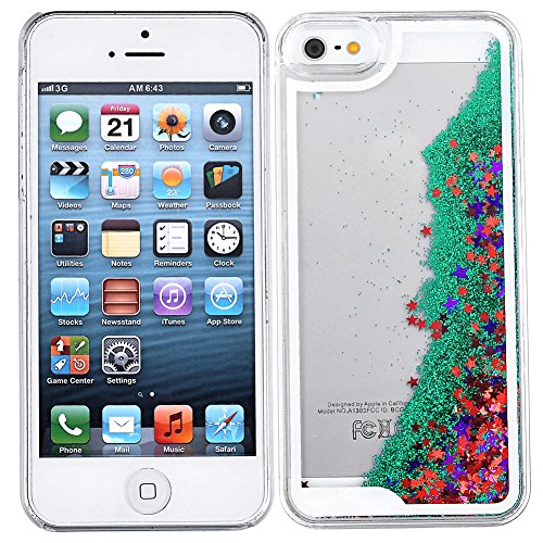 Yoption Transparent Plastic 3D Glitter Quicksand and Star Liquid Case for Apple Iphone 5 5S - Transparent Glitter