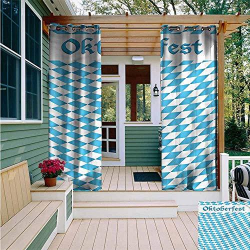 Beihai1Sun Outdoor Curtain Panel for Patio,Oktoberfest Rhombus Diagonal Style,Room Darkening, Noise Reducing,W84x72L