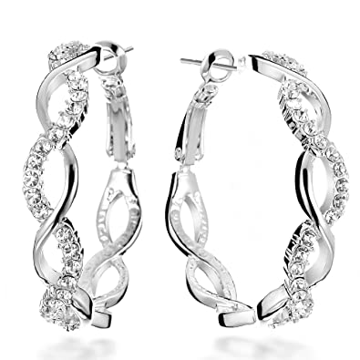 d5645e088d16a Gemini Women's 18K Filled Crystal Round Hoop Pierced Earrings for Women  Valentine's Day Gifts Gift Idea Gm045Rg