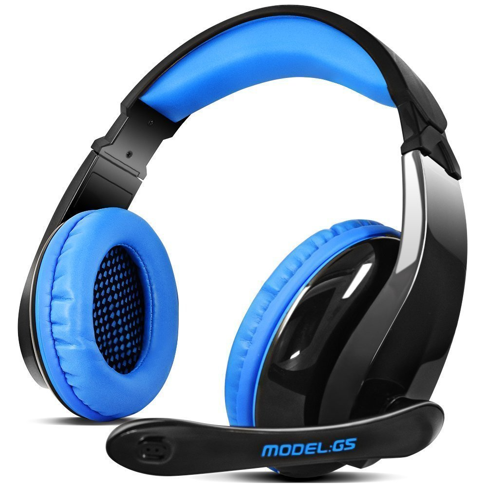 LETTON PS4 Gaming Headphones G5 3.5mm Stereo Sound PC Gaming Headset with Microphone,Over Ear Noise Canceling for Xbox One /Mac,Black/Blue by TTk