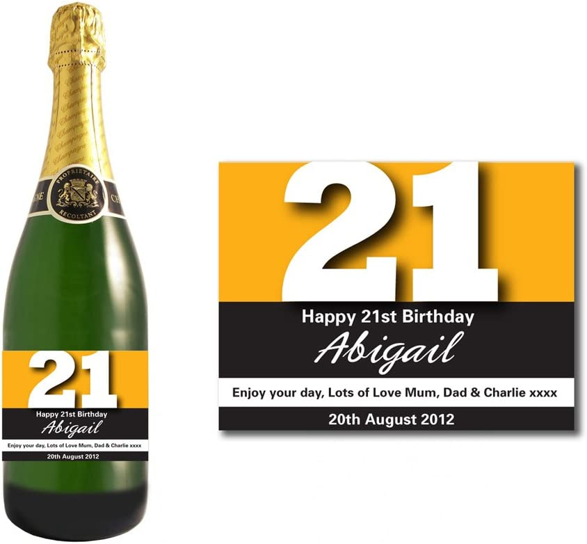 Personalised Gold 21st Birthday Champagne Bottle Label Gift for Women and Men