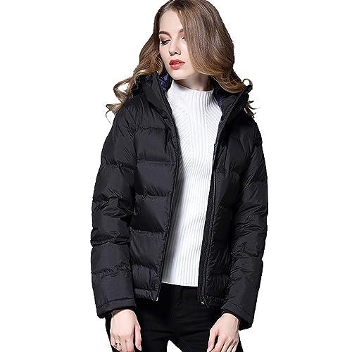 WTUS - Chaqueta de Invierno de Moda con Capucha de Pato Blanco Abajo para Mujer,Sección Corta