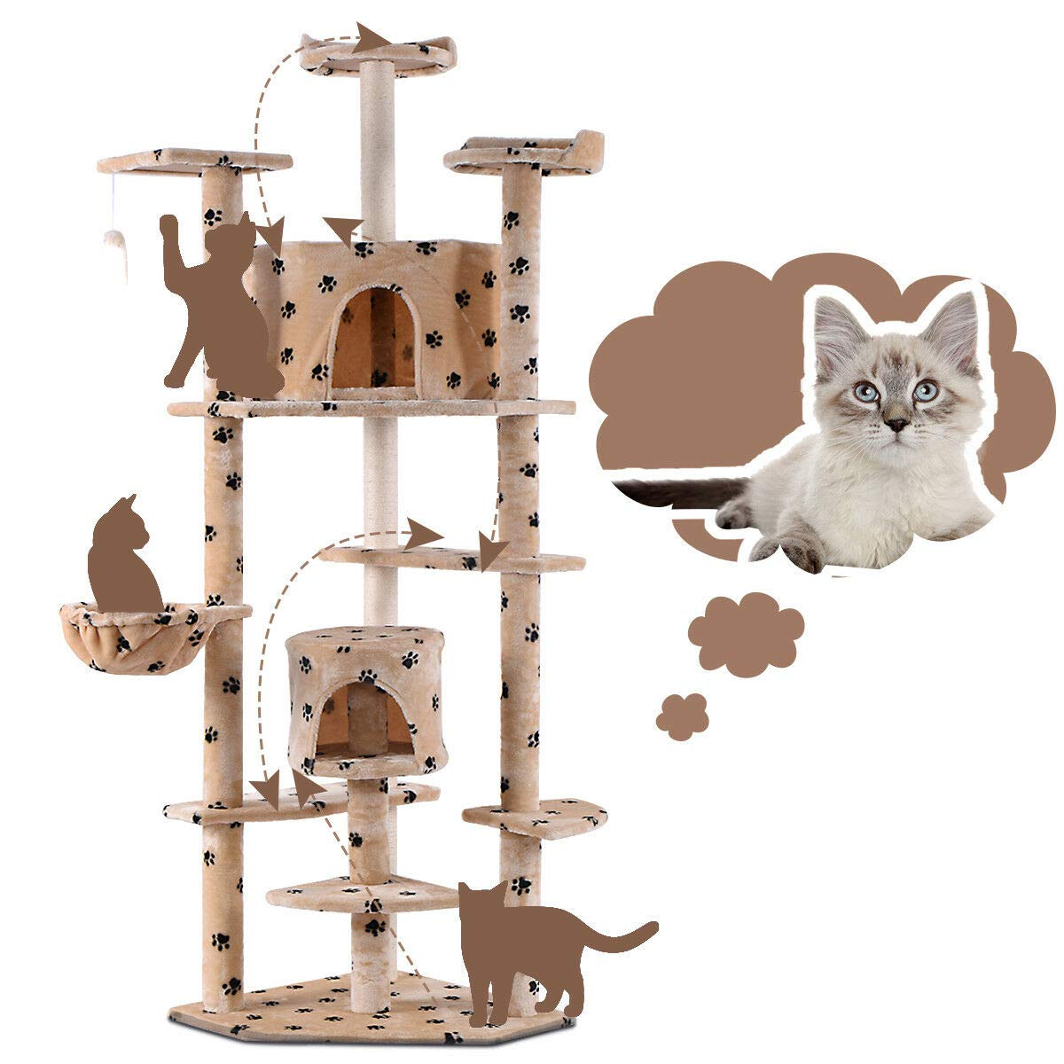 HTH_ONLINE_STORE Cat Tree Condo Furniture Scratch Post Pet House Large Activity Tower