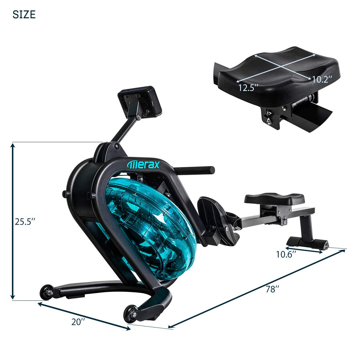Merax Water Rowing Machine - Fitness Indoor Water Rower with LCD Monitor Home Gym Equipment (Black) by Merax (Image #7)