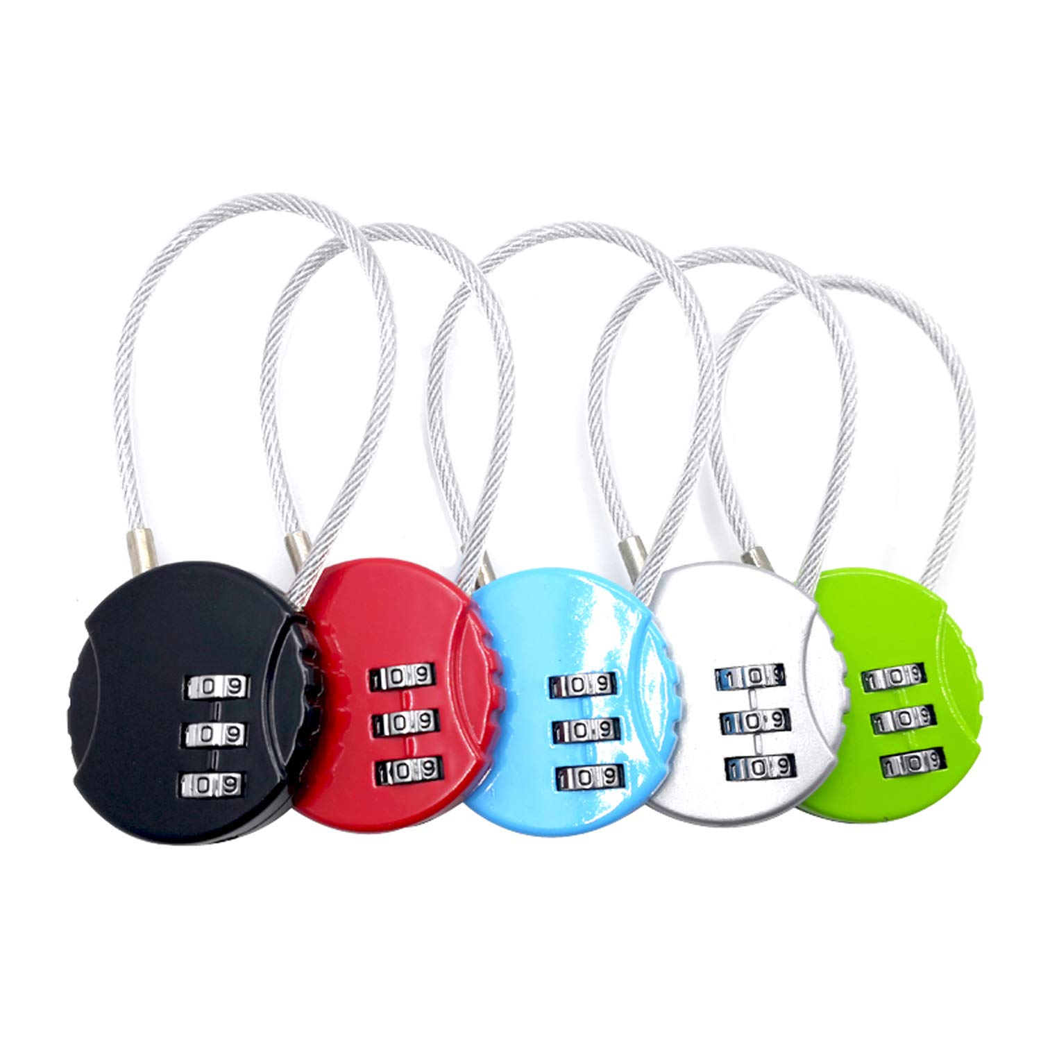 ZPLIUST 3-Digit Cable Luggage Locks Re-settable Combination, Alloy Body Color Locks (5Pack)