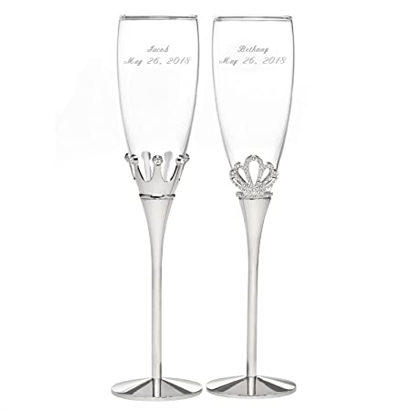 Personalized Royal Pair King and Queen Champagne Flutes – Canopy Street – Custom Engraved Set of 2 11344P