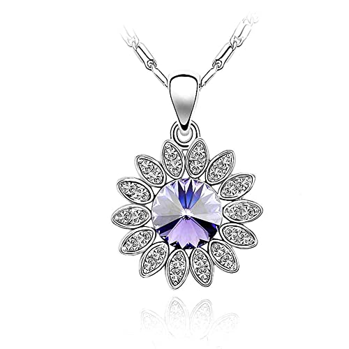 Amazon silver crystal diamond accent sunflower pendant chain silver crystal diamond accent sunflower pendant chain necklace for women with a gift box aloadofball Gallery