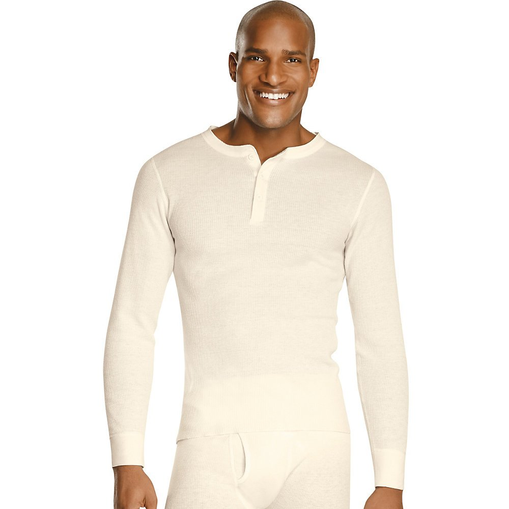 Hanes X-Temp Men`s Thermal Henley, 14510, L, Natural