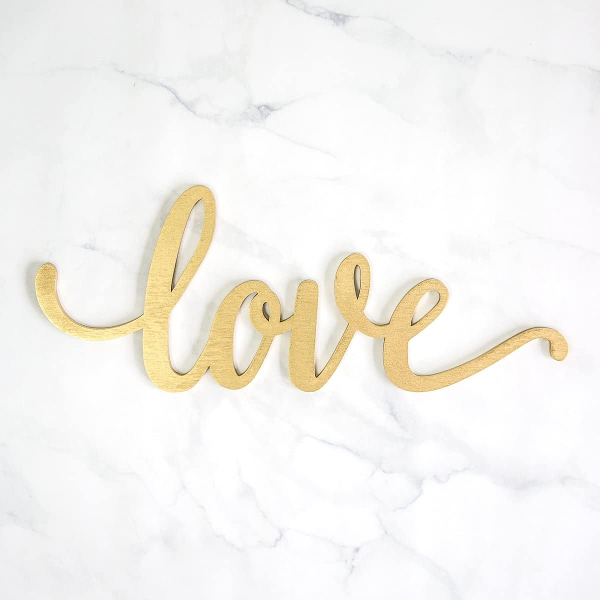 "Love Wood Sign Home Décor Wall Art Gold 8"" x 3"""