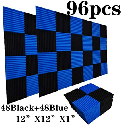 Black 50Pcs, Black/&Blue 1 X 12 X 12 50 Pack Acoustic Panels Soundproof Studio Foam for Walls Sound Absorbing Panels Sound Insulation Panels Wedge for Home Studio Ceiling