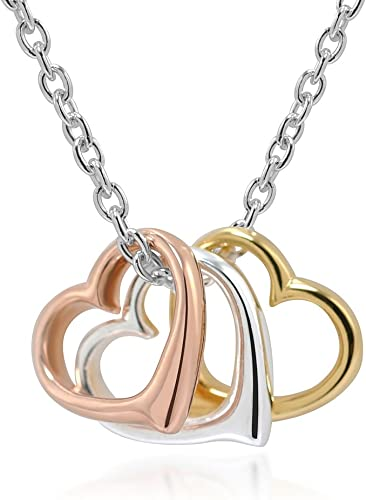 Sterling Silver TRIPLE HEARTS Necklace Pendant
