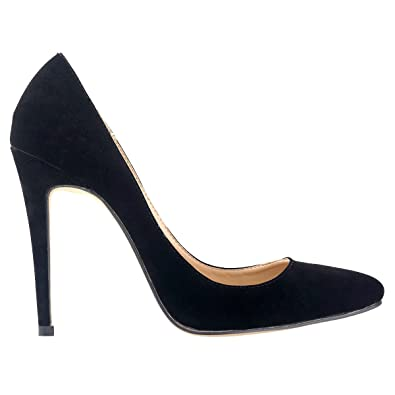5d899d9c7 Loslandifen Womens Closed Toe High Heels Pointed Slender Stiletto Pumps (302-1VE35,Black