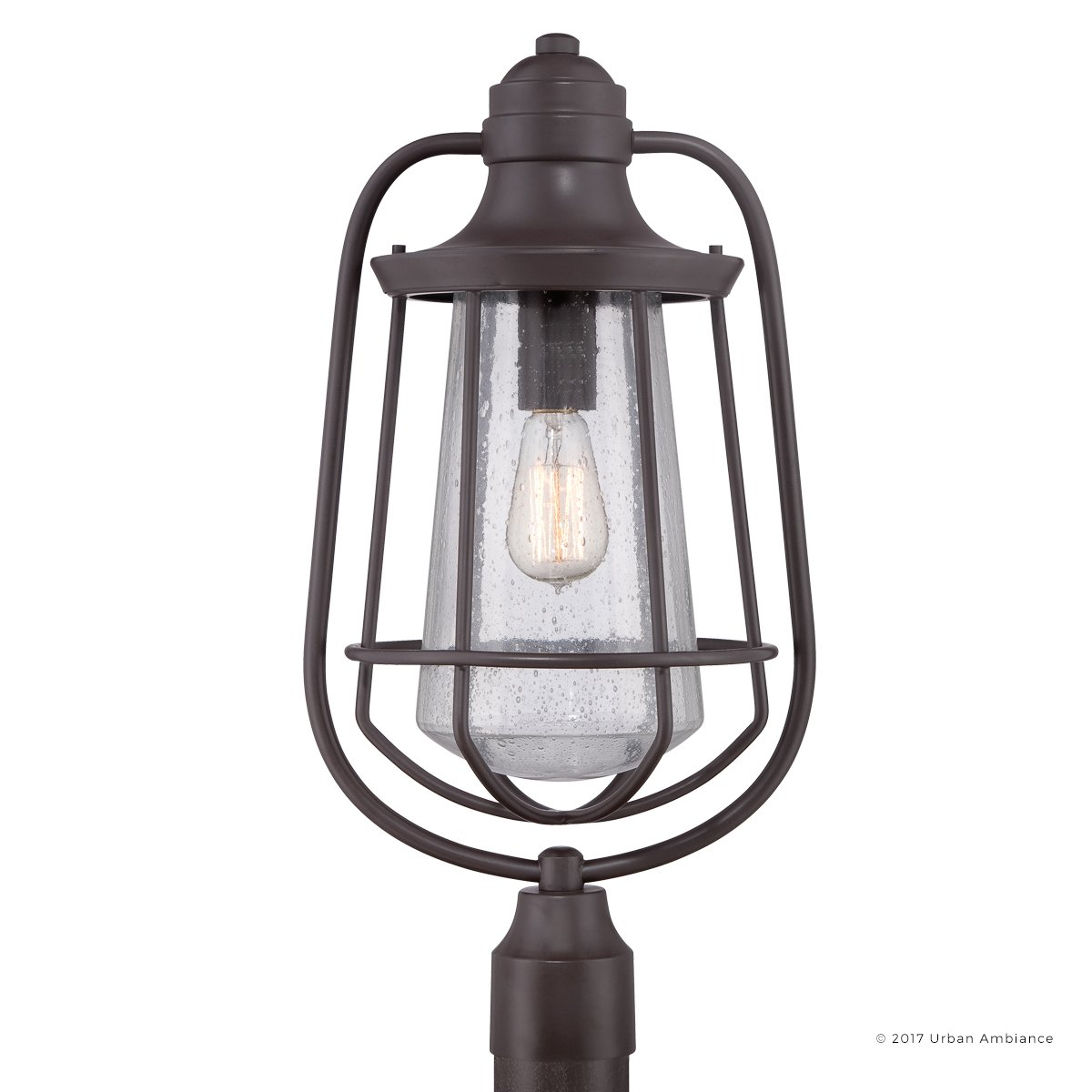 Luxury Vintage Outdoor Post Light, Large Size: 23''H x 11''W, with Nautical Style Elements, Cage Design, Estate Bronze Finish and Seeded Glass, Includes Edison Bulb, UQL1124 by Urban Ambiance by Urban Ambiance