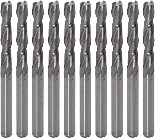 10pc Double Two Flute Straight Slot CNC Router Bits Wood MDF Milling Storage Box