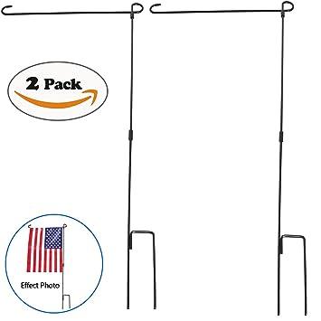 Garden Flag Stand, HOOSUN Premium Garden Flag Pole Holder Metal Wrought  Iron Powder Coated