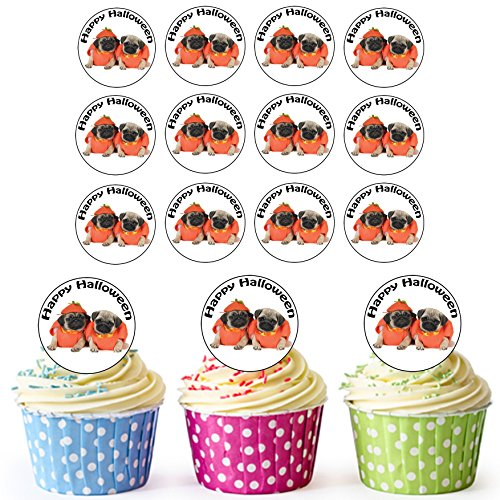 AKGifts 24 PRE-CUT Circles Halloween Pugs Edible Cupcake Toppers / Halloween Cake Decorations - Easy Precut Circles (7 - 10 BUSINESS DAYS DELIVERY FROM (Gory Halloween Makeup Ideas)