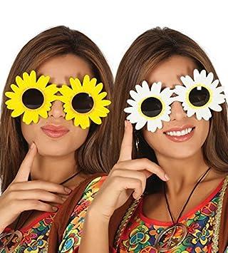 3384f8ad0d Large Daisy Sunglasses Flower Power Hippie 1960 s Hippy Fancy Dress  Festival  Amazon.co.uk  Toys   Games