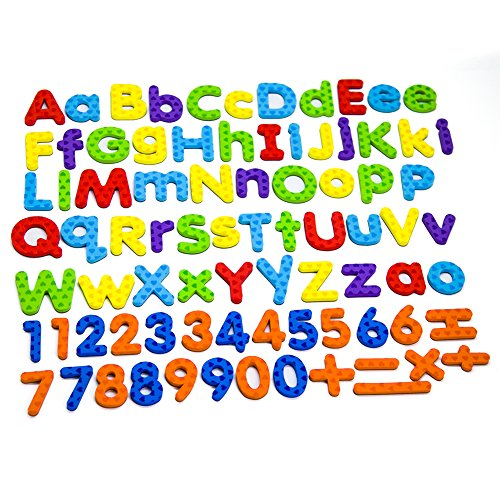 MAGTIMES Magnetic Letters and Numbers for Educating Kids in Fun -Educational Alphabet Refrigerator Magnets -82 Pieces (Letters and Numbers) ()