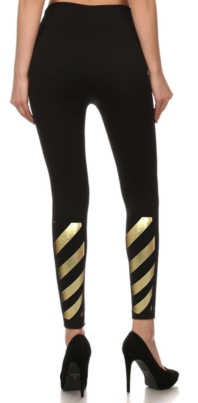 BLING BLING COUNTRY Diagonal Stripe Gold Foil Print Fleece Lined Stylish Black Stretch Leggings