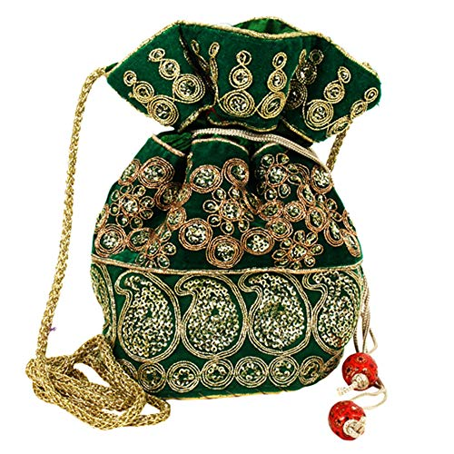 Purpledip Potli Bag (Clutch, Drawstring Purse) For Women With Intricate Gold Thread & Sequin Embroidery Work, Green (10039)