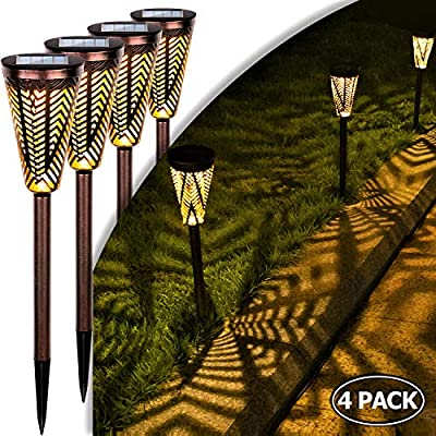 LeiDrail Garden Solar Lights Outdoor Decorative Path Light Solar Powered Stake Metal Landscape Lighting Waterproof Warm White LED for Patio Yard Pathway Lawn - 4 Pack (Bronze)