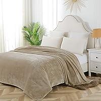 """Flannel Fleece Blanket Throw Lightweight Cozy Plush Super Soft Microfiber Solid Fleece Blanket,50""""60"""" Beige"""